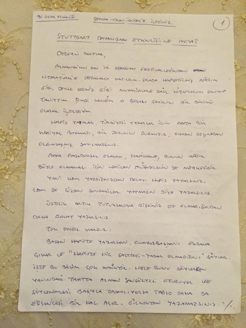 Can Dündar mektup el yazisi 1nci safya 30012016