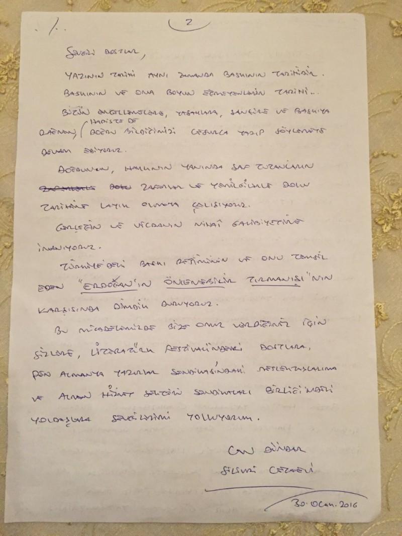 Can Dündar mektup el yazisi 2nci safya 30012016